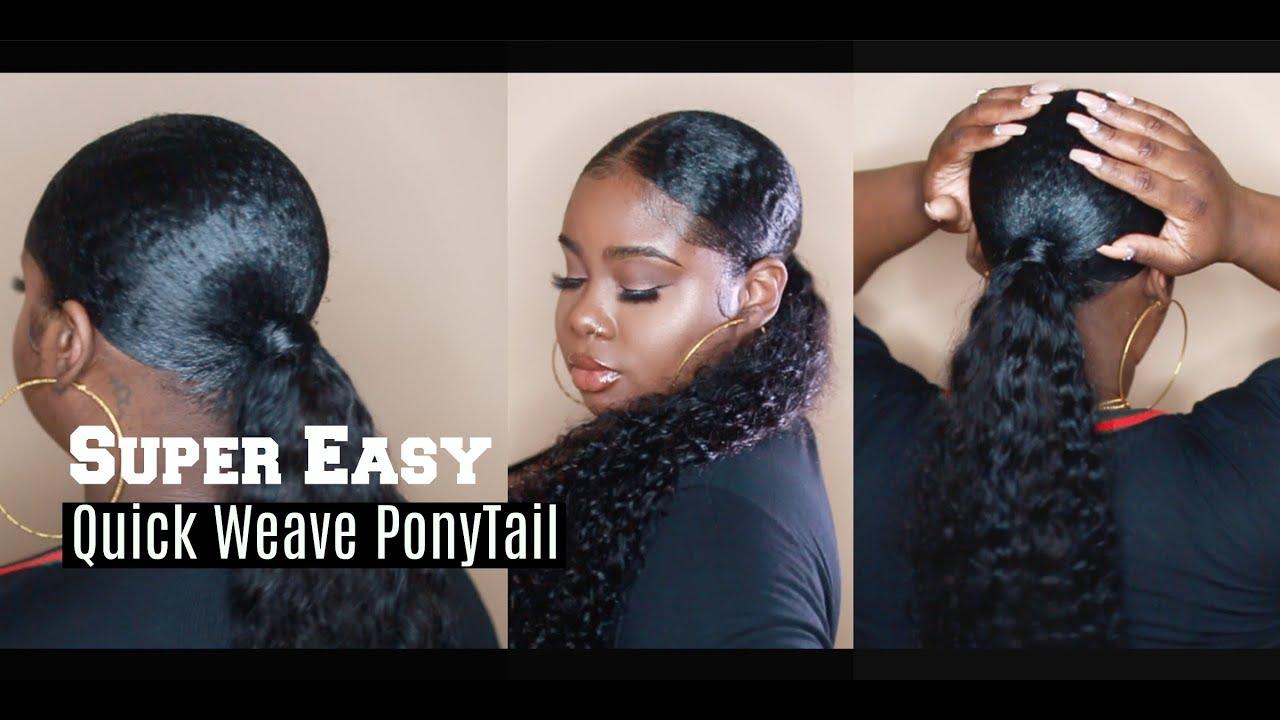 "easy protective style ! quickweave ponytail ""baggie method"""