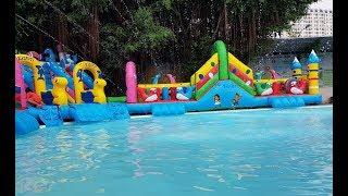 Nhà phao nhà hơi liên hoàn trượt nước kết hợp bể bơi CTY Nguyện Như sản xuất