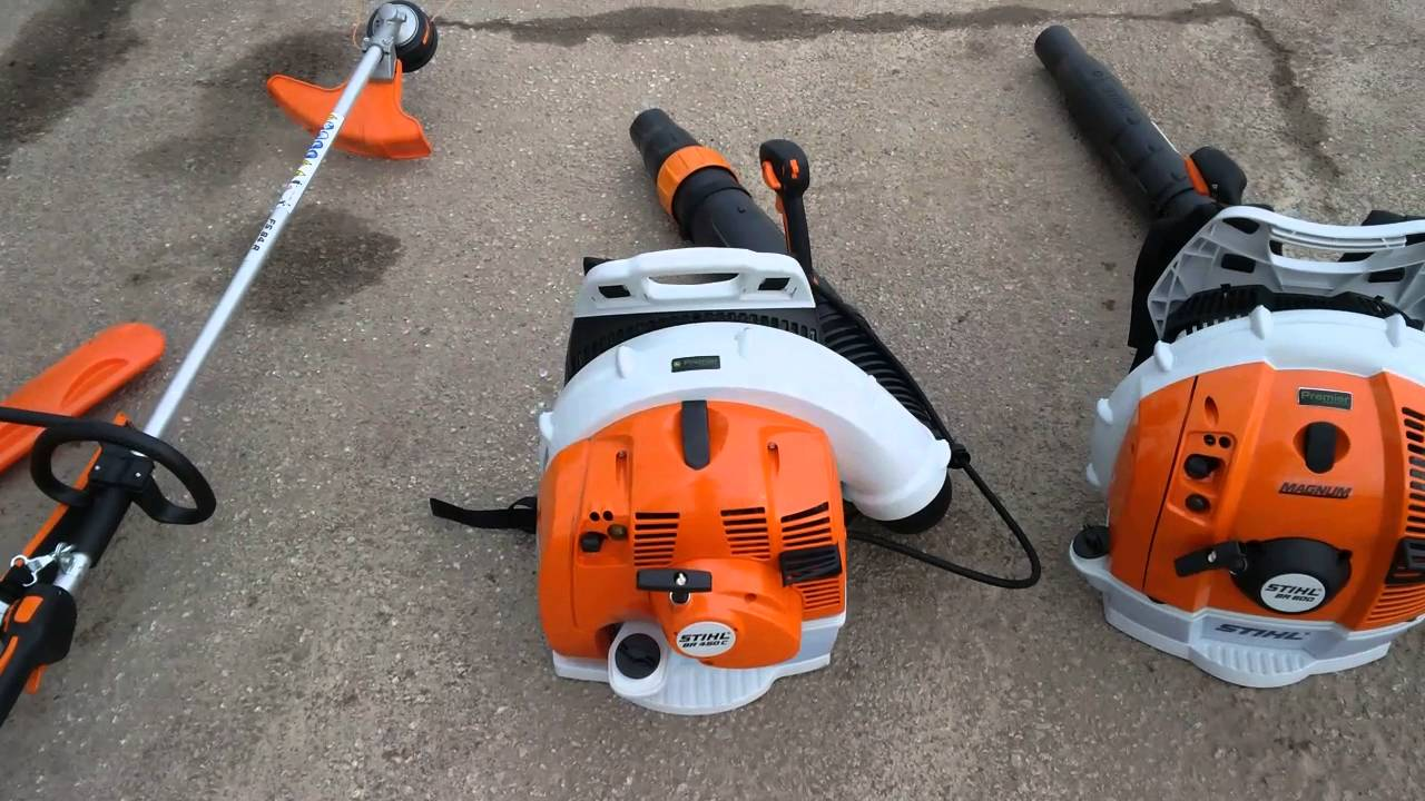 Electric Backpack Blower : Stihl br electric start leaf blower in action doovi