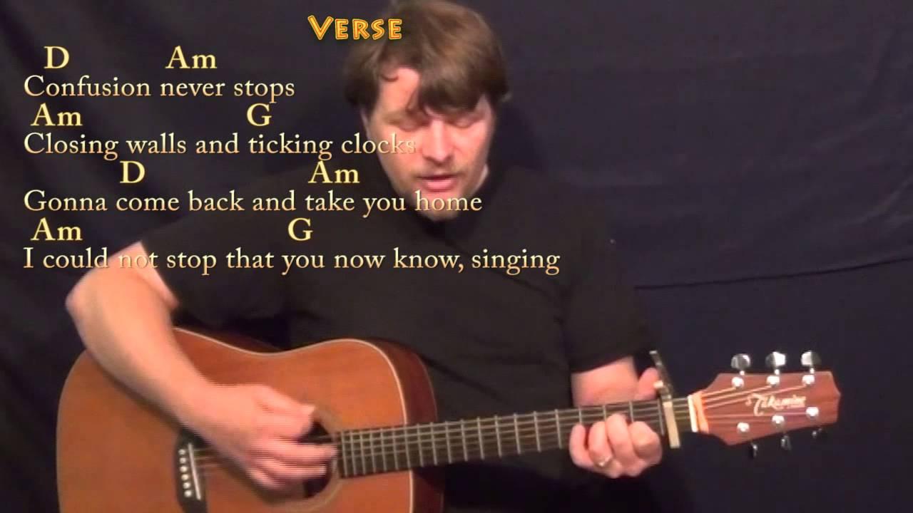 Clocks Coldplay Strum Guitar Cover Lesson With Chordslyrics