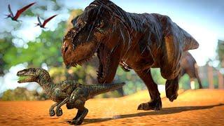Island Sanctuary T-Rex Vs Blue, I-Rex, Raptors, Gigantspinosaurus, Carnotaurus, Herbivores - JWE