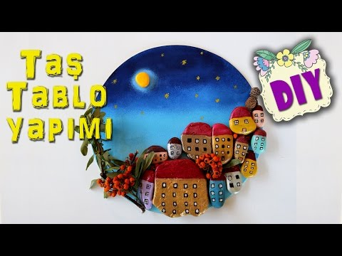 Diy Tas Boyama Tas Tablo Yapimi Stone Art Youtube