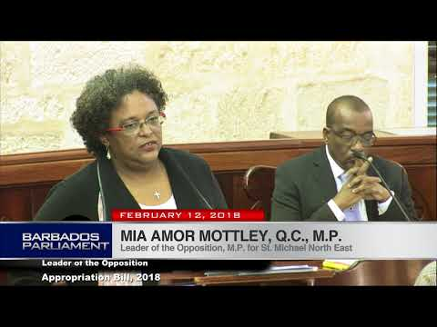 Mia Amor Mottley, Q.C., M.P. debates the Appropriation Bill, 2018