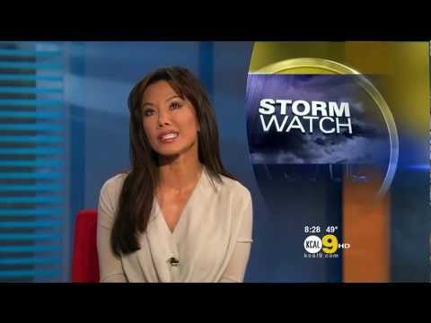 Sharon Tay 2011/12/12 8PM KCAL9 HD; Off-white top, on the radio 94.7 WAVE
