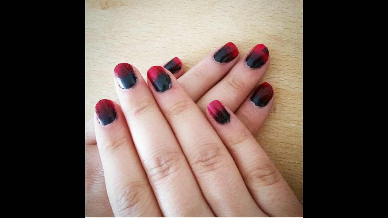 Halloween themed: Red and Black ombré nails - YouTube