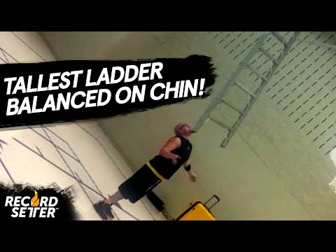 Tallest Ladder Balanced On Chin (World Record!)