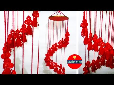 Wind chime making out of newspaper/ Waste Newspaper Wall decor/ Crafts Vine