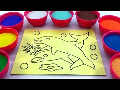 TRANH CÁT - TÔ MÀU TRANH CÁT HÌNH  CÁ HEO! Color Sand Paint
