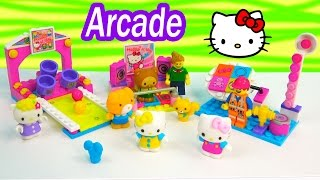 Hello Kitty Arcade Games LEGO Doll Minifigure Playset Mega Bloks Toy Review Unboxing Play Video