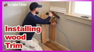 Installing Wood Trim.  How to install bead board wainscoting & chair rail.