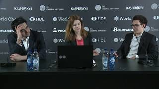 Round 4. Press conference with Kramnik and Caruana