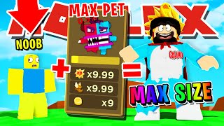 I GOT MAX SIZE USING THE BEST SWORD & UNLOCKED A FULL TEAM OF THE BEST PETS ROBLOX GIANT SIMULATOR!!