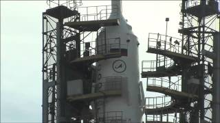 Soyuz and Rocket Moved to Launch Pad
