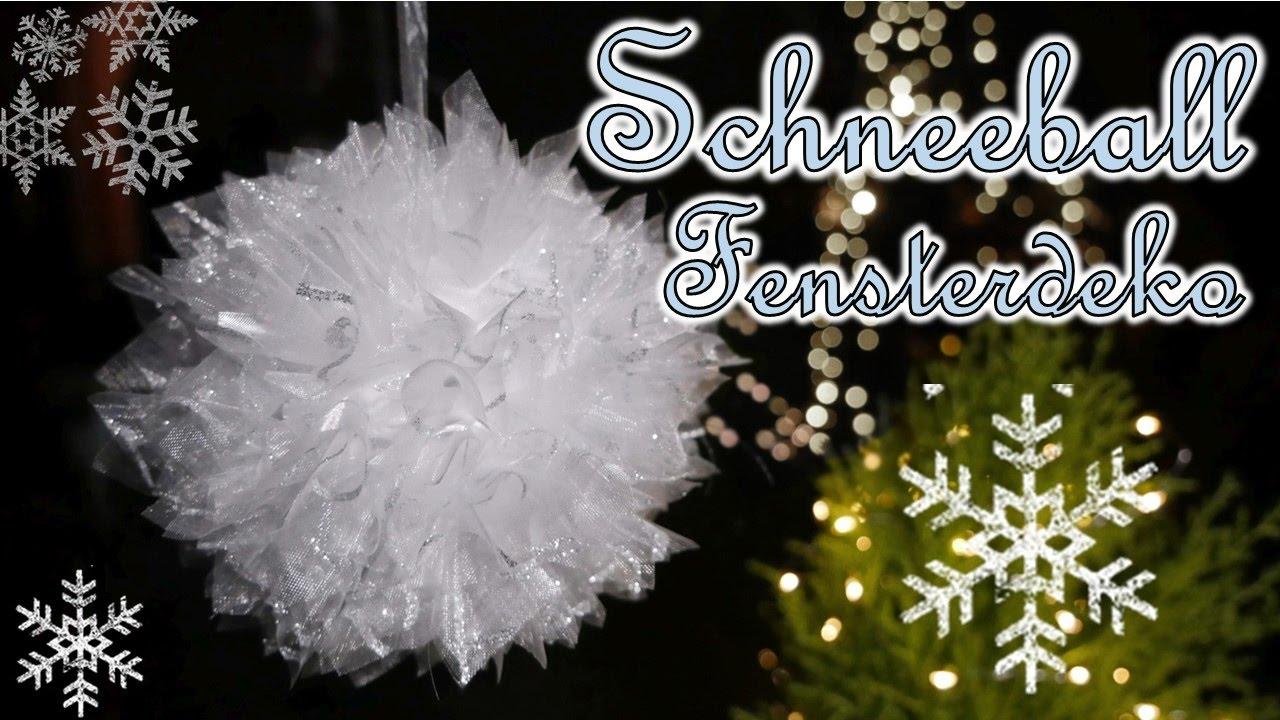 Schneeball fensterdeko basteln christbaumkugel aus stoff - Weihnachtskugeln fenster ...