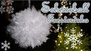 Schneeball Fensterdeko basteln | Christbaumkugel aus Stoff | Winterdeko