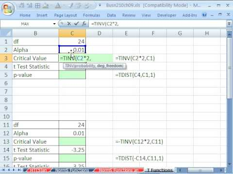 How to Find critical values with T functions in MS Excel « Microsoft