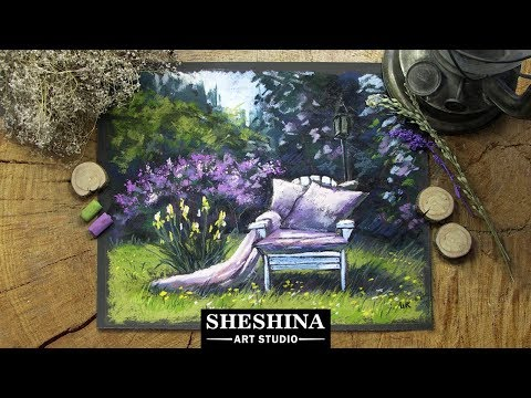 How to draw a spring blooming garden with soft pastels 🎨 LANDSCAPES
