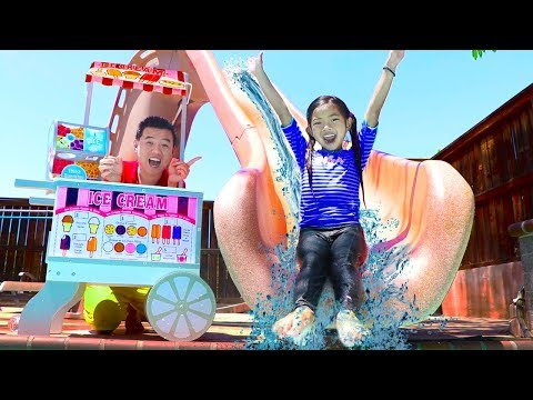 Emma Pretend Play with GIANT Swimming Pool Water Slide & Ice Cream Toys Pool Party