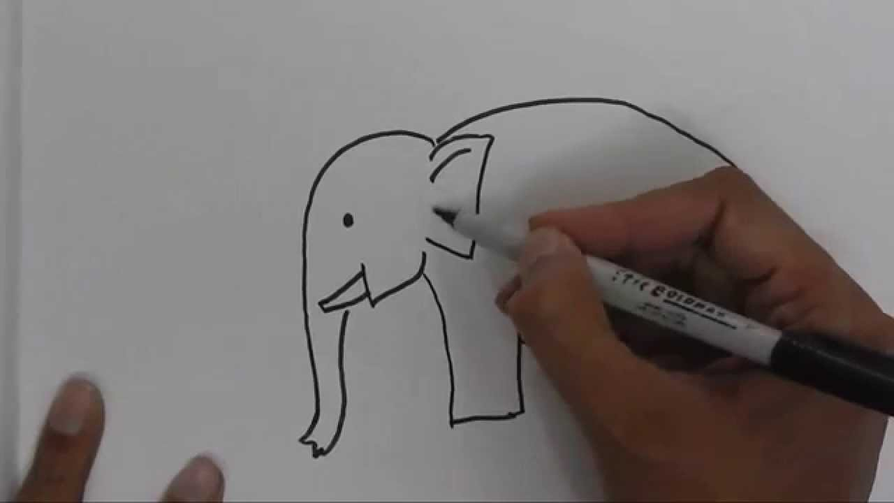 How to draw an elephant for beginners, children in easy ...