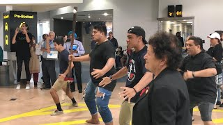 Alex Aiono gets a warm welcome at Auckland airport