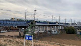 E257系500番台 快速成田山初詣むさしの号 武蔵野線荒川橋梁通過