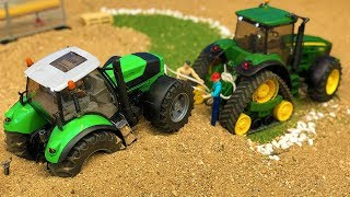 Bruder Tractor Deutz Stuck! John Deere Tractor For Kids Toy Action Video