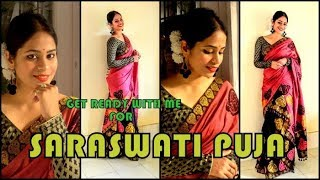 Tutorial on styling Mekhela Sador for Saraswati Puja | Get Assamese traditional wear | look