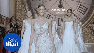 Pronovias show off racy lace wedding dresses on the runway - Daily Mail