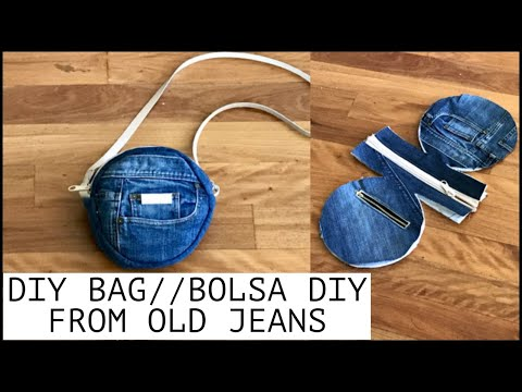 DIY  ROUND PURSE BAG IDEA OUT OF OLD JEANS |SLING BAG lRECYCLING IDEA |BOLSA DIY/กระเป๋าผ้า