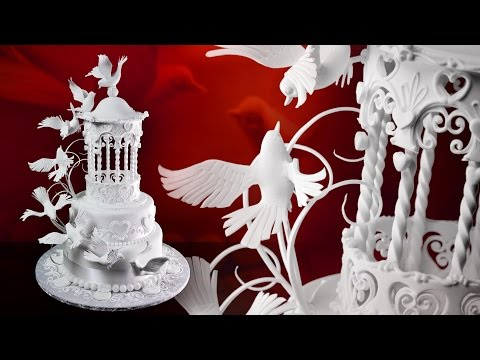 Gazebo & Doves Wedding Cake - Sample Video - How to Make Bird Wings with Pastillage