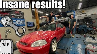 Ricer Civic finally goes bye bye... EXPLODES ON THE DYNO!