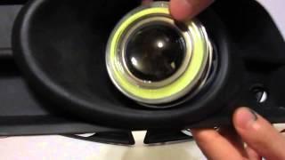 Линзованные противотуманки с ДХО для Chevrolet Cruze и Skoda Fabia