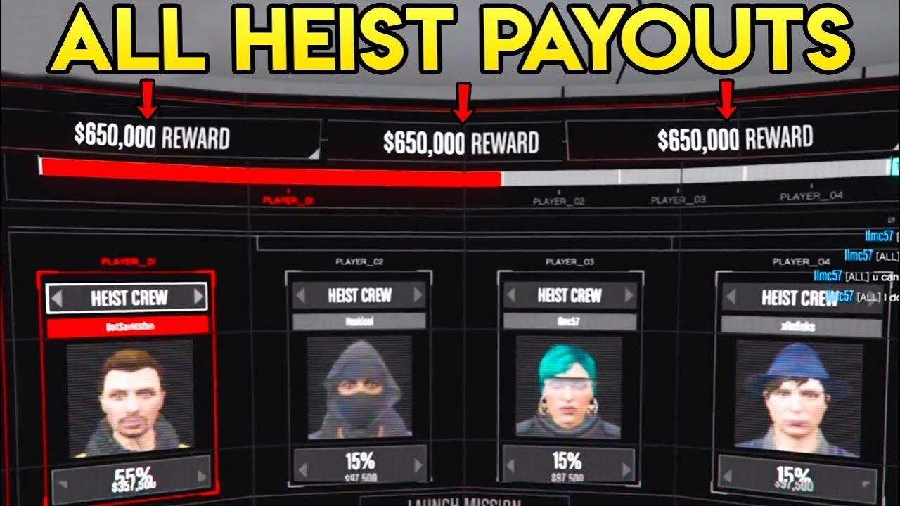 all gta v online heist payouts