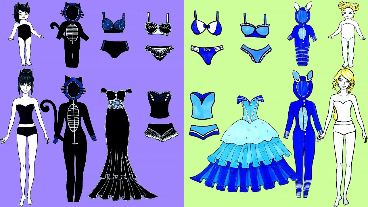 Paper Dolls Dress Up - Costumes Cinderella Cat Dresses Handmade Quiet Book - Barbie Story & Crafts