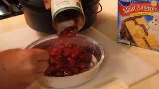 Cherry Cobbler With Cake Mix In A Dutch Oven
