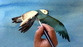 Watercolor painting with masking tape - flying bird