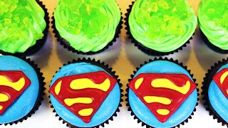 HOW TO MAKE SUPERMAN CUPCAKES - NERDY NUMMIES