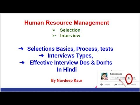 Selection Basics, Process, tests Interviews Types, Effective