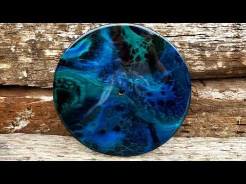 Resin Pour Painting- Black & Blue Clock