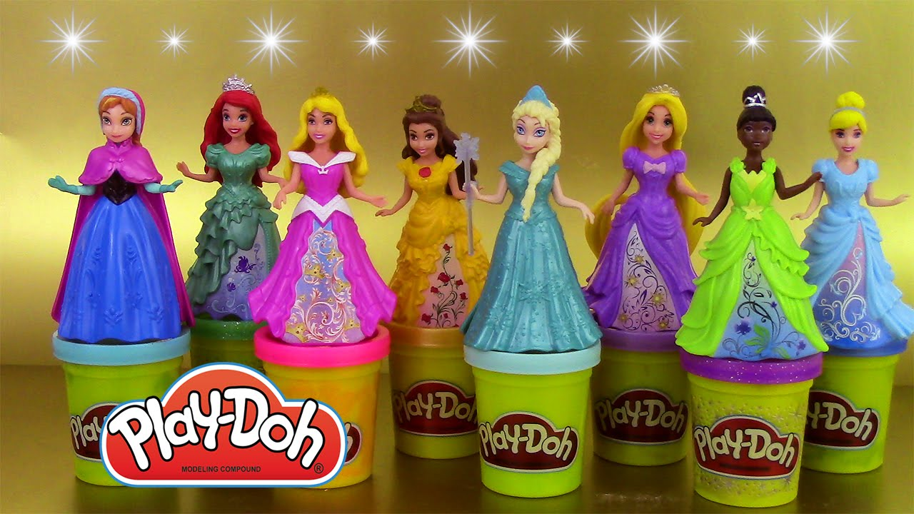 8 Play Doh Magiclip Disney Princesses Pâte à modeler Poupées Magic Clip - YouTube