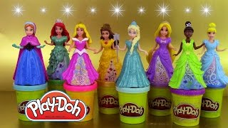 8 Play Doh Magiclip Disney Princesses Pâte à modeler Poupées Magic Clip