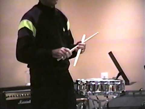 LOUIE BELLSON, drum clinic, 1991  Front row, clear snare drum view