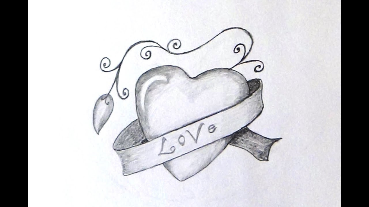 Draw Heart With A Banner