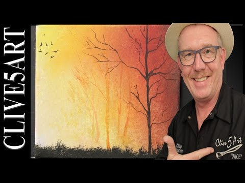 Simple Sunset Trees | Easy |Acrylic painting for beginners | #clive5art