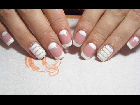 Half Moon And White Gel Nail Design Manichiura Cu Efect De Semiluna