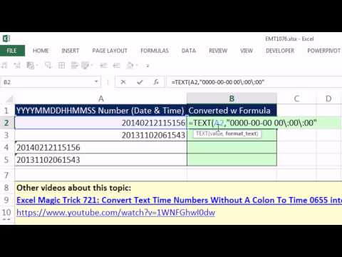Excel Magic Trick 1076: Convert Date-Time Values To Serial Numbers W TEXT & Custom Number Format
