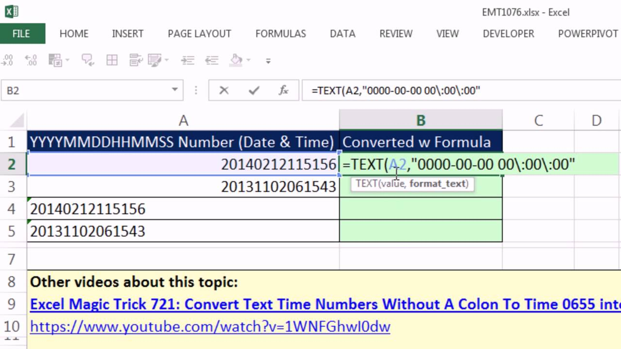 Excel Magic Trick 1076 Convert Date Time Values To Serial Numbers W Text Custom Number Format You