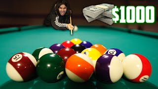 INTENSE $1000 POOL CHALLENGE | BETTING $1000 IN A GAME OF BILIARD!