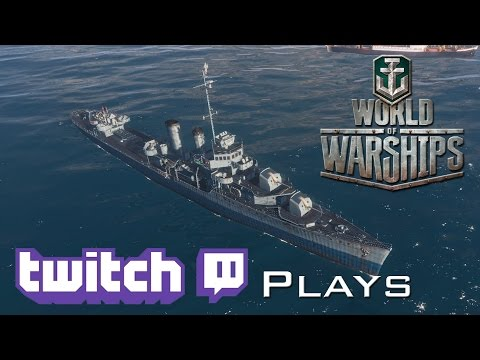 World of Warships - Twitch Plays - US Destroyer wrecking CV