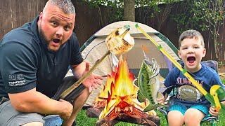 CALEB & Daddy G๐ CAMPING! PRETEND PLAY Camping & Fishing Adventure